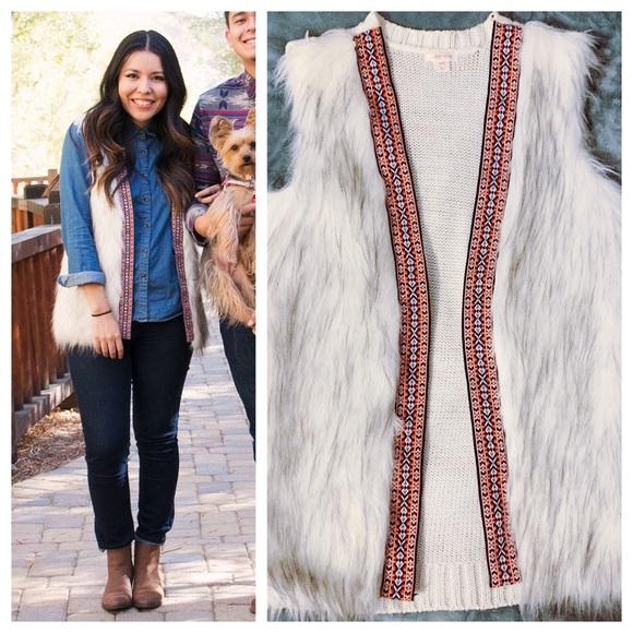 Xhilaration Jackets & Blazers - White faux fur vest with tribal print